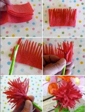 2 - Flor de papel crepom